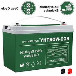 Eco-worthy 12V 100AH 1.2 KWH Gel SLA Battery for PV Solar Pa