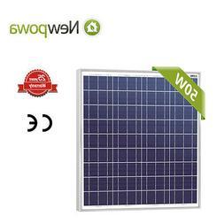 NewPowa 50W Watt 12V Poly Solar Panel Module RV BOAT OFF GRI