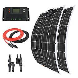 Giosolar 200 Watt Flexible Monocrystalline Solar Kit with 20
