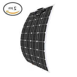 Giosolar 2pcs 100W 12V Flexible Solar Panel High Efficiency