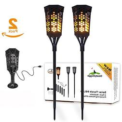 Flickering Flame Solar Torch Landscaping Light Kit  DC Charg