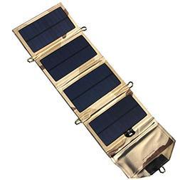 SUKEQ Foldable Solar Charger, NEW 7 Watts Portable Power Sol