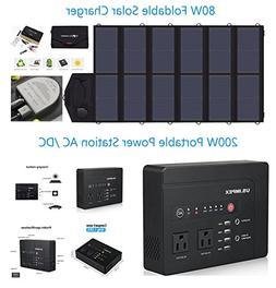 80W Foldable Solar Panel Portable Solar Charger Generator +