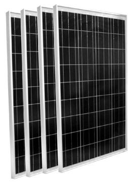 WindyNation Lot of Four 100 Watt 100W Polycrystalline 12V 12