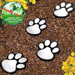 Garden LED Solar Powered Lights Dog Animal Paw Print - 4 Pac
