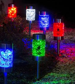 A Ting Outdoor Glass and Plastic Blooms Solar Garden Path Li