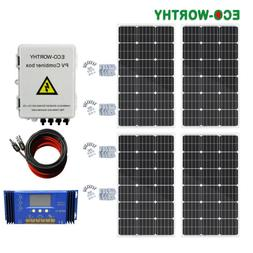 200Watt Kit 2*100W Solar Panel W/ 1000W Inverter for 12V RV