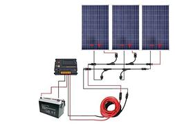 ECO-WORTHY 300 Watt 12V Off Grid Solar Panels Kits : 3pcs 10