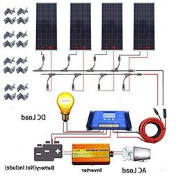 ECO LLC 600W Off Grid Solar System + 4pcs 150W Solar Panel +