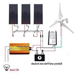 ECO LLC 850W Hybrid Solar-Wind Kit 400W Wind Generator Kit &