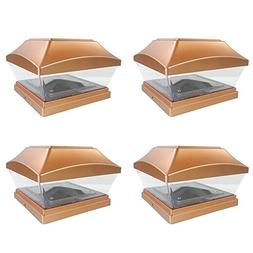 iGlow 1 Pack Copper Outdoor Garden 6 x 6 Solar SMD LED Post