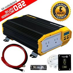 KRIËGER 1100 Watt 12V Power Inverter Dual 110V AC Outlets,
