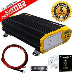 KRIËGER 2000 Watt 12V Power Inverter Dual 110V AC Outlets,