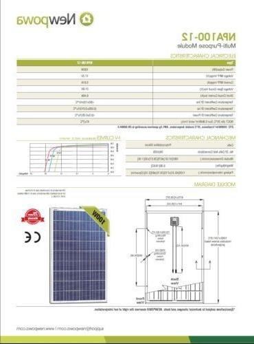 100Watts Solar Panel 12Volt Poly Off Grid Charge RV