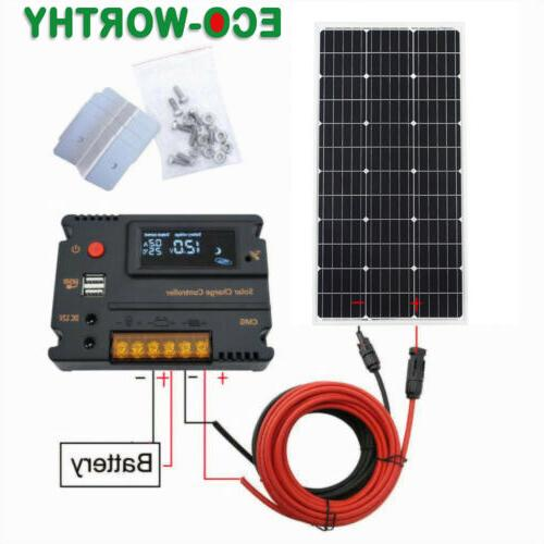 ECO 100W Watt Solar Panel Kit Battery Caravan