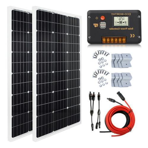 100W 200W Watt Solar Panel Kit 12Volt Battery Charge Control