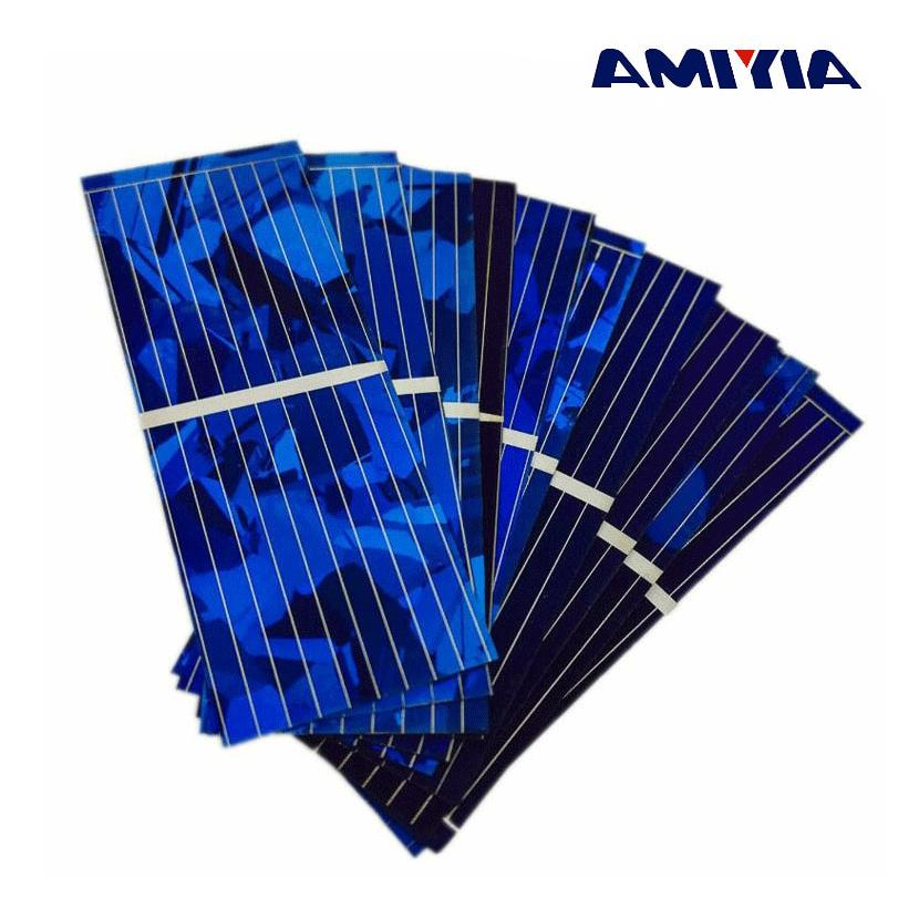 AIYIMA 100pcs Solar Panel Cells 0.5V 320mA 52x19mm Color Cry