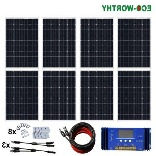 100W 200W Watt Solar kit 12V/24V Battery Home RV