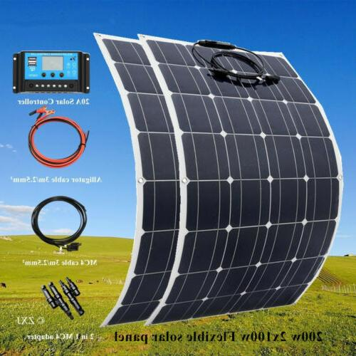 100W/200w flexible Solar Panel Kit for Boat Home Car RV Roof