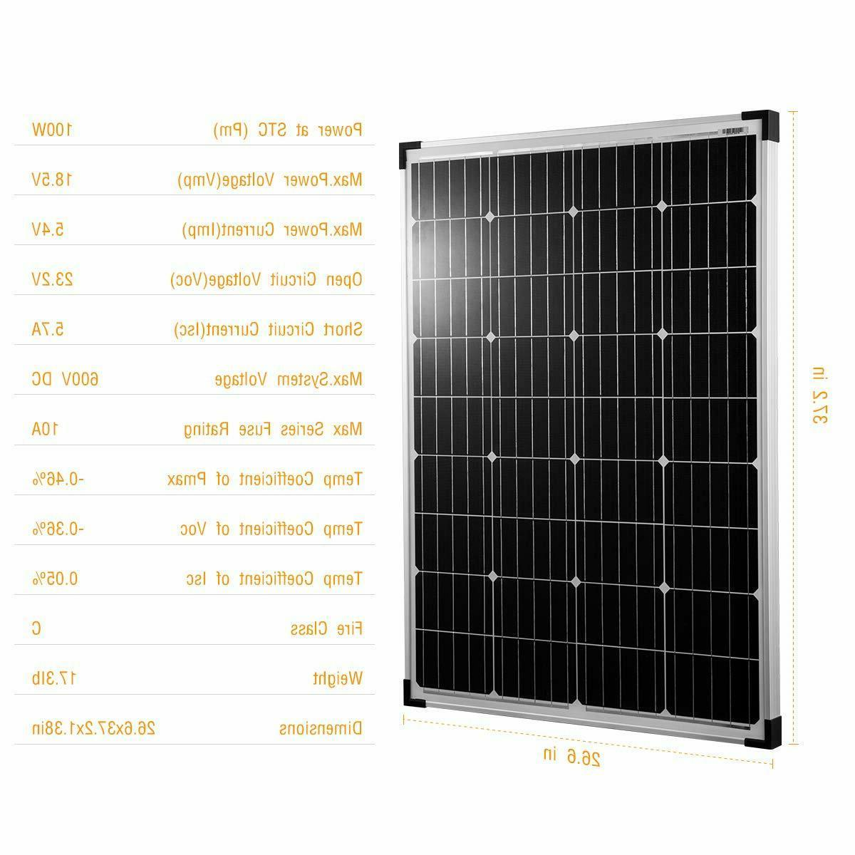 kinverch 100Watts Solar Panel for Battery