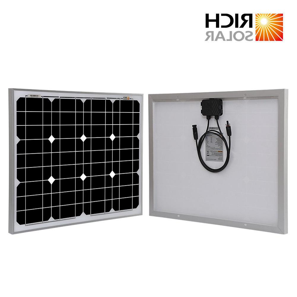 RICH SOLAR 50W Panel 12V Battery Charger