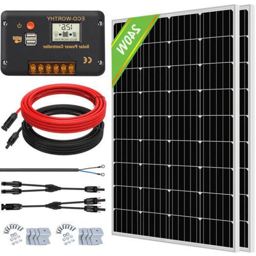 120W 240W Watt  Solar Panel Kit High Efficiency For Battery