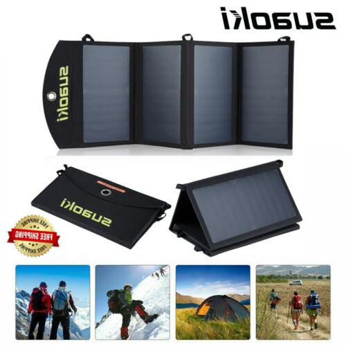14w folding solar panel charger usb power
