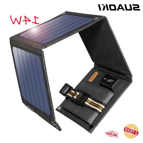 Suaoki 14W Solar Panel Charger Bank For Smartphones Tablet PC