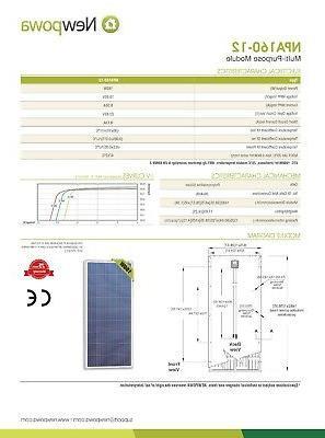 Newpowa 160W Panel 12V/24V Charge 6FT MC4