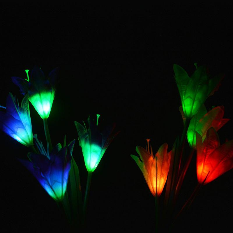 2 Color Changing LED Light Fixtures Flowers Solar Garden Stake