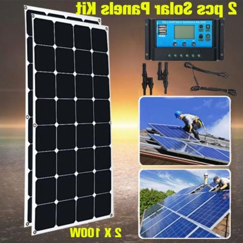 200 Watt Mono Solar Panel Kit 12/24V RV Boat Off Grid Batter