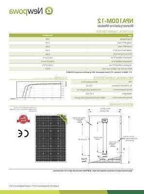 Newpowa Watt solar panel Kit Monocrystalline 12V Grid RV
