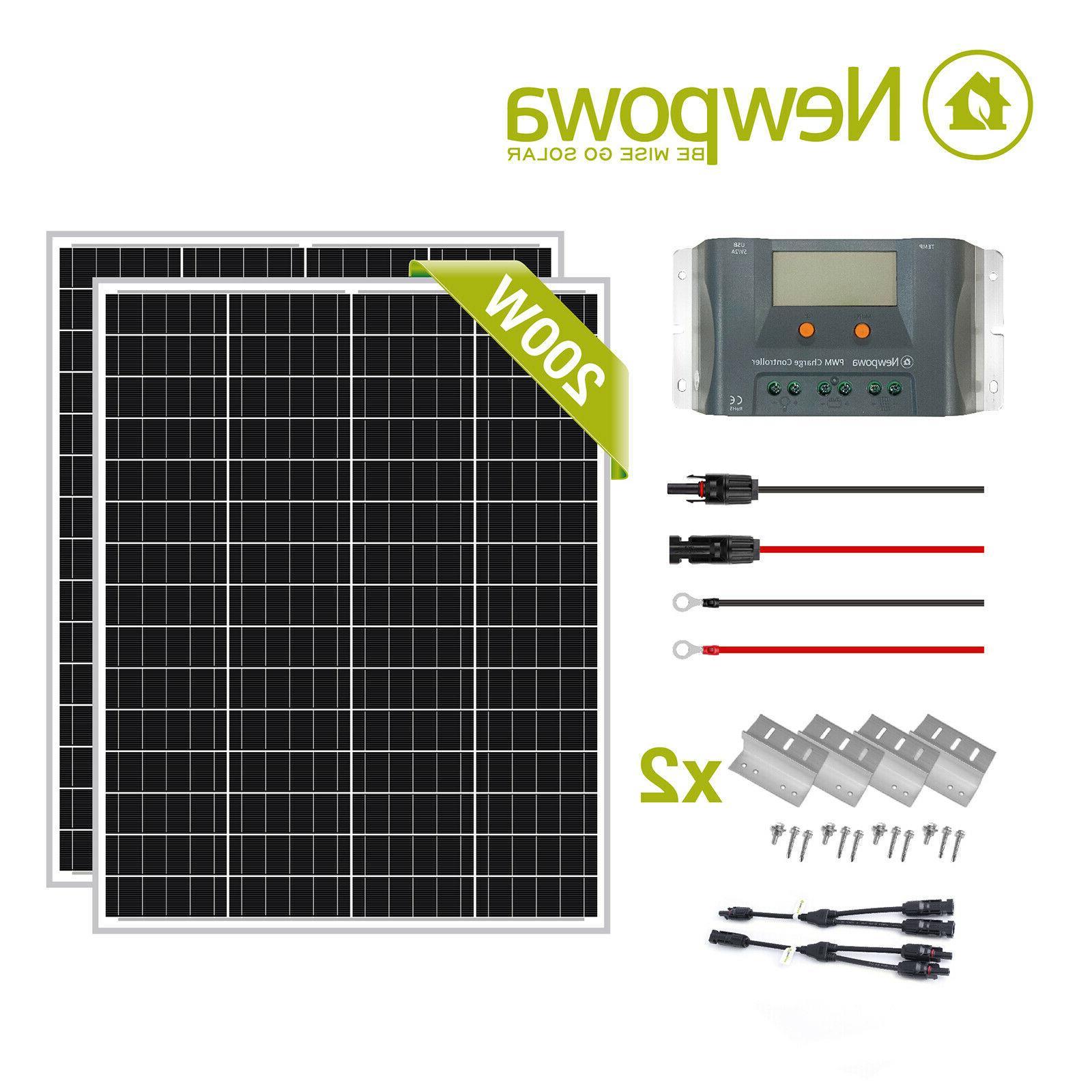 200w 2pcs 100w monocystalline solar charge kit