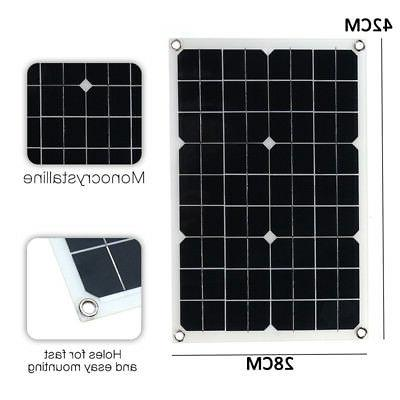 20W 12V/5V DC Battery Solar Panel USB Home For Car