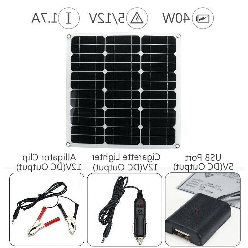 20W-40W Dual 12V/5V Solar Car Battery Charger Controller