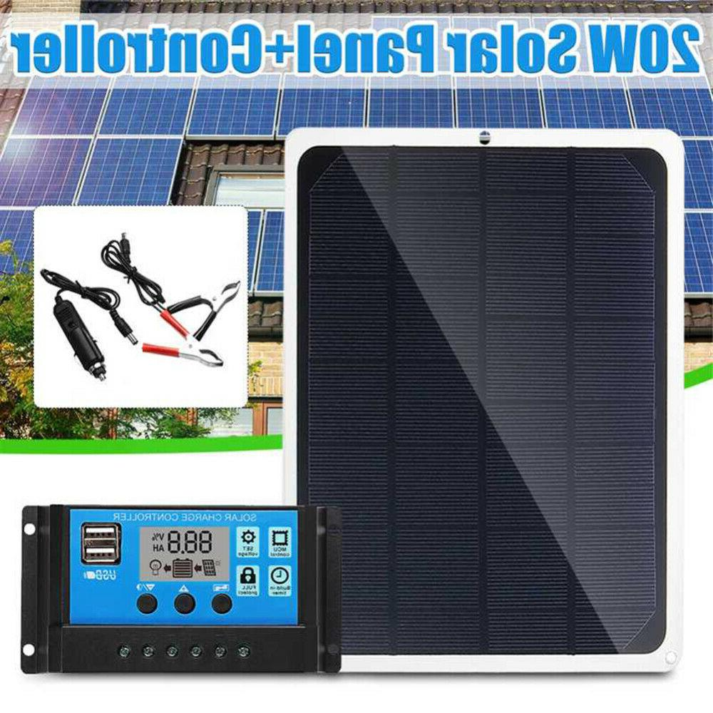 20W Solar Panel Trickle Charge Charger Kit Maintainer RV Car