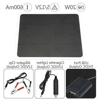 20W Solar Panel USB 12V 5V Battery Charger Controller Car
