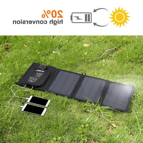 21W Foldable Solar Panel Kit Dual USB Smart Battery Charge F