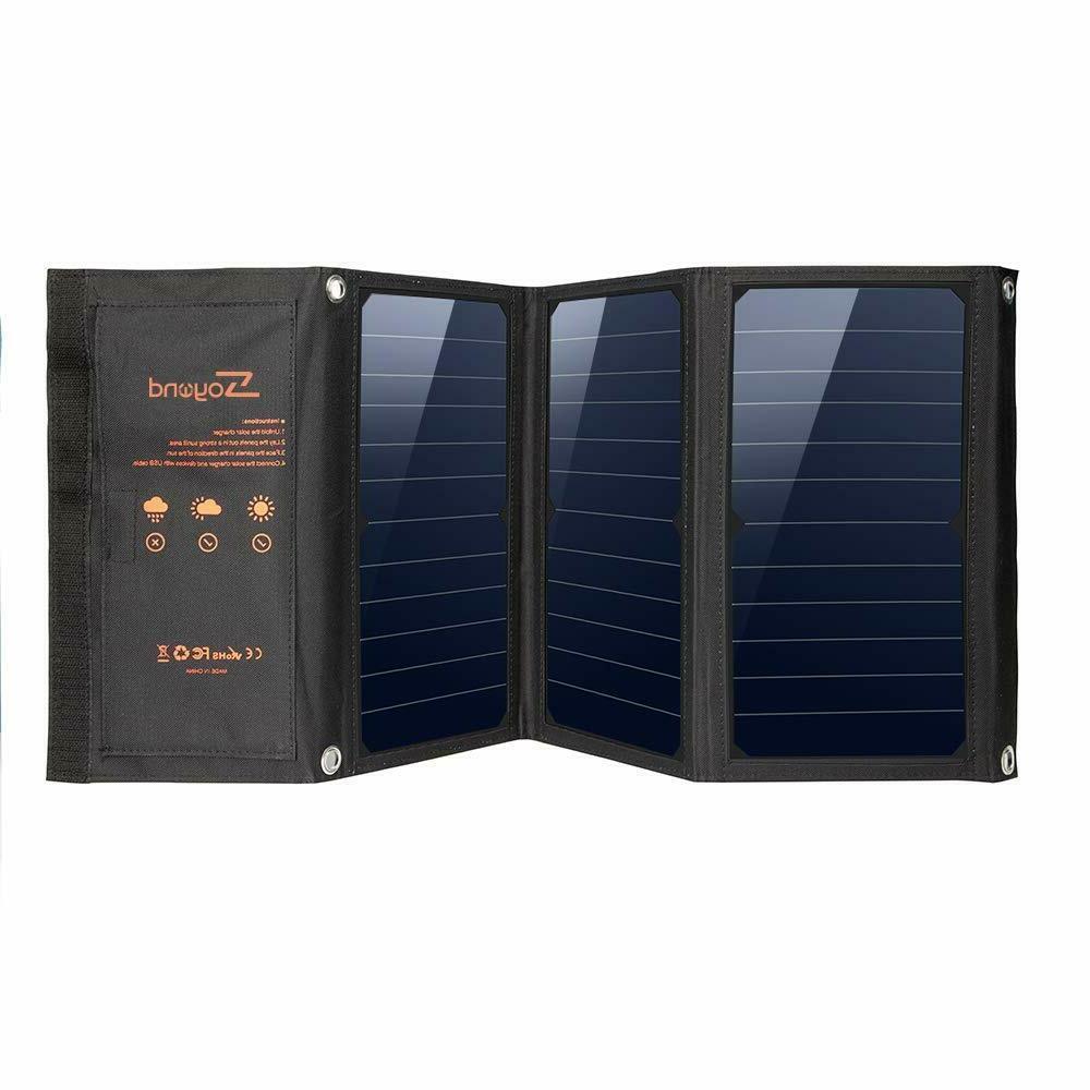 22W Foldable Solar Power Panel USB Solar Charger