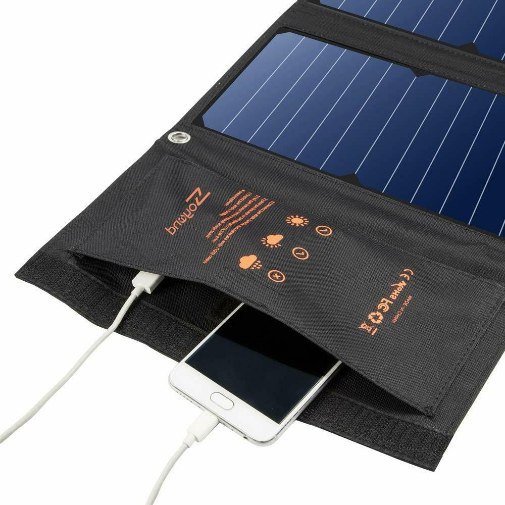 22W Foldable Phone Power Charger Panel USB Solar