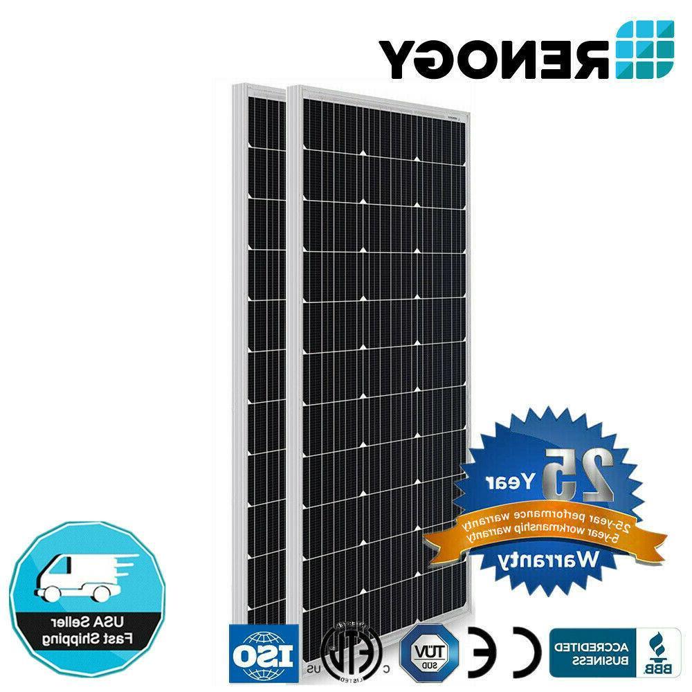 2PCS Renogy Compact Design 100W Watt 12V Volt Mono 200W Sola