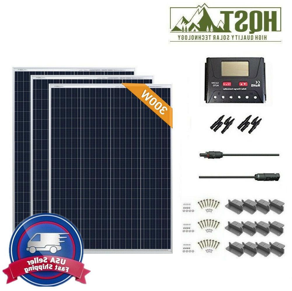 300 Watt Solar Panel Kit 300W 12V Off Grid System RV Boat Ca