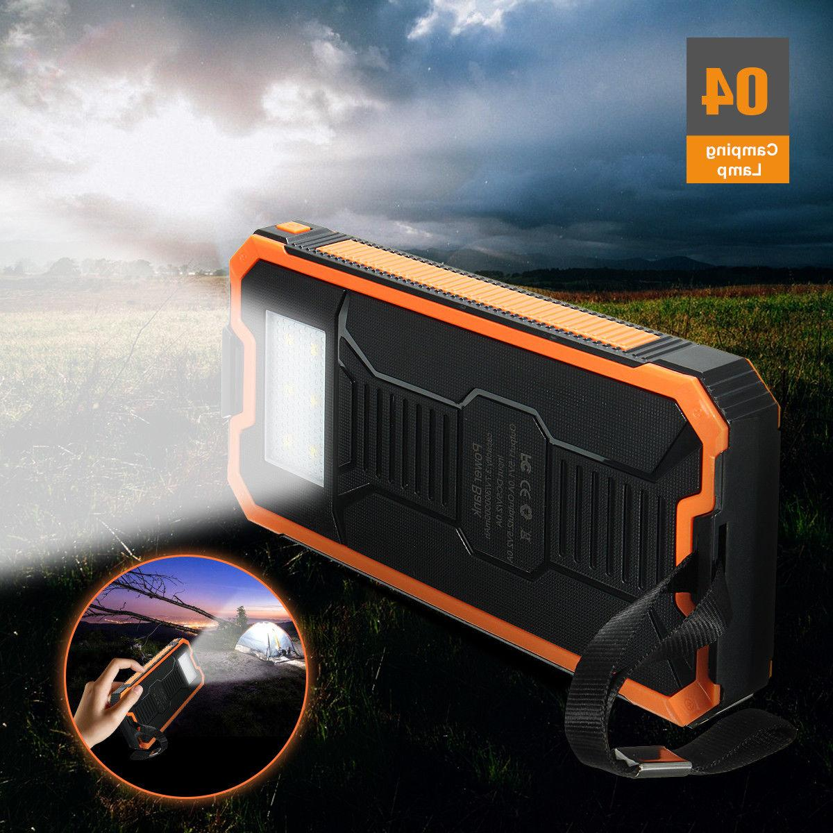 500000mAh Solar Bank Dual USB Battery Charger