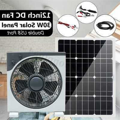 30W Double USB Solar Panel+12inch Fan+1.2m DC Line For Camping