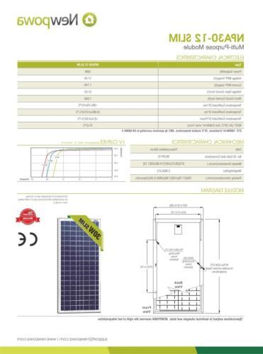 Newpowa 30w Watts 12v Poly Solar Panel Module Rv Marine Boat