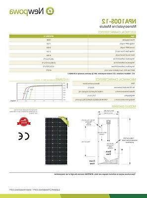 Newpowa 200W Watt Monocrystalline Grid Kit Boat