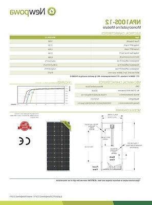 Newpowa 200W Watt Monocrystalline Panel Off Grid Kit for Boat