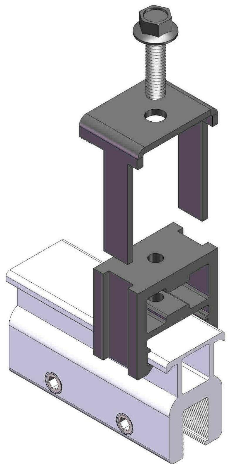 4 End Clamp Standing Seam Metal Solar Panel Module Racking Kits