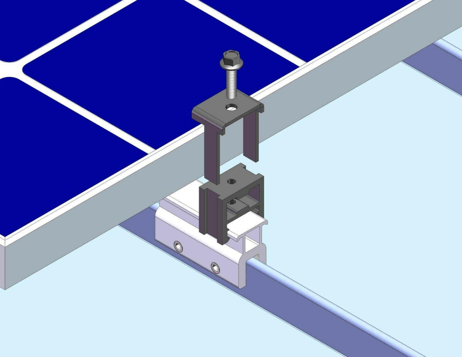 4 End Clamp Standing Seam Metal Panel Module Mounting Racking Kits