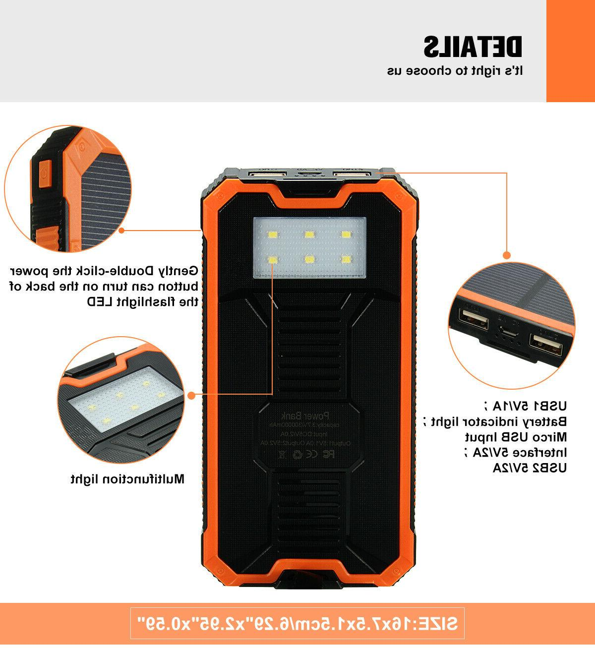 500000mAh Power Bank Portable USB US